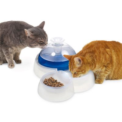 Catit Water Drinking Fountain With Food Bowl For Cats