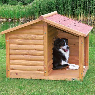 Cuccia baita trixie natura con terrazza zooplus for Cucce per cani da esterno coibentate
