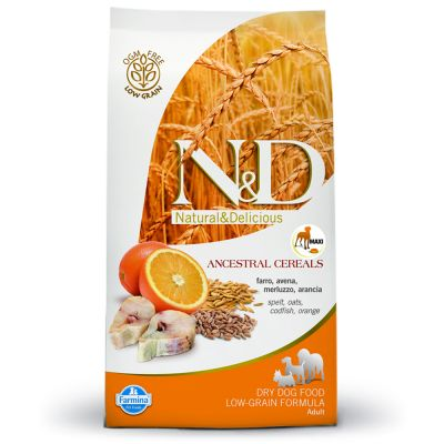 Farmina N&D Low Ancestral Grain Adult Maxi con bacalao y naranja