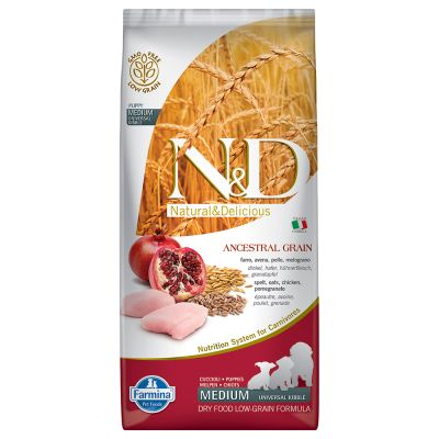 Farmina N&D Low Ancestral Grain Puppy Medium con pollo y granada