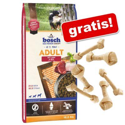 Großgebinde Bosch (neue Rezeptur) + 6 geknotete Barkoo Kauknochen à 11 cm gratis!