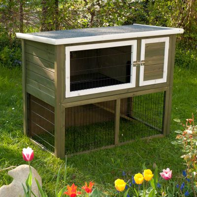 Outback hutches outback hutch compact green with run for Maison exterieur pour lapin
