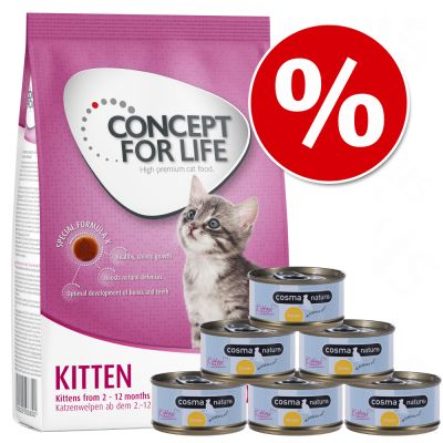 Probierset Kitten: 400 g Concept for Life  + Cosma Nature